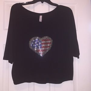 Tops - Fourth of July Bling Crop Top